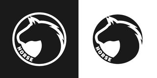 Silhouette of an horse, monochrome logo. Stock Images