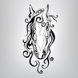 Silhouette of a horse's head in the patterns. vector illustratio. Silhouette of a horse's head in the patterns in graphic style Royalty Free Stock Photo