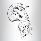 Silhouette of a horse's head. vector illustration. Silhouette of a horse's head on a gray background Stock Photography