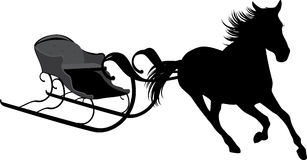 Silhouette of horse with sledges Stock Image