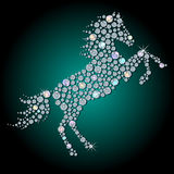 Diamond horse. Silhouette of horse- symbol 2014 year, made with faceted shiny diamond Royalty Free Stock Images