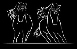 Silhouette of horse. . Royalty Free Stock Images