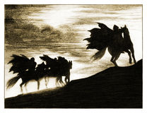 Silhouette of the horsemen. Royalty Free Stock Photo