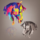 Silhouette of a horses head made ​​of droplets. Silhouette of a horses head dripping paint of different colors Stock Image