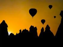 Silhouette,hot air balloon an fairy chimneys Royalty Free Stock Photo