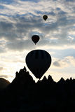 Silhouette of hot air balloon Royalty Free Stock Photography