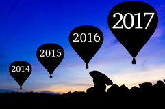 Silhouette hot air balloon Royalty Free Stock Photography