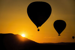 Silhouette, hot air balloons Royalty Free Stock Photos