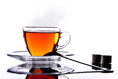 Silhouette hot cup of tea Stock Photography