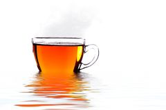 Silhouette hot cup of tea Royalty Free Stock Photography