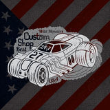 silhouette of hot rod car in smoke with best custom shop lettering on USA flag Stock Photos