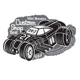 Silhouette of hot rod car in smoke with best custom shop lettering Stock Photos