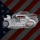 Silhouette of hot rod car in smoke with wild monsters custom lettering on USA flag Stock Image