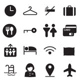 Silhouette Hotel, hostel, motel icons Illustration  Symbol Royalty Free Stock Images