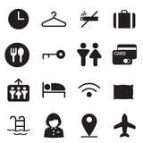 Silhouette Hotel, hostel, motel icons Stock Image