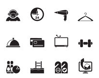 Silhouette hotel and motel amenity icons Stock Image