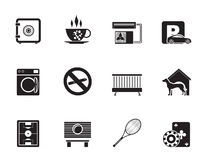 Silhouette hotel and motel amenity icons Stock Images