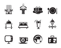 Silhouette Hotel, motel and holidays icons Stock Image