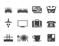 Silhouette Hotel and motel icons Stock Image