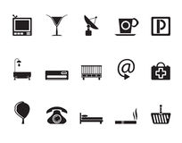 Silhouette Hotel and motel icons Royalty Free Stock Images
