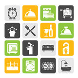 Silhouette Hotel and motel icons Royalty Free Stock Photos