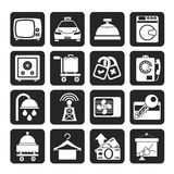 Silhouette Hotel and motel room facilities icons Stock Image