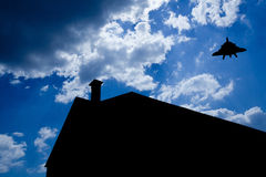Silhouette of house. With chimney Stock Image
