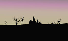 Silhouette house in fields Royalty Free Stock Images