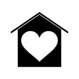 Silhouette house love heart beauitful card Royalty Free Stock Photos