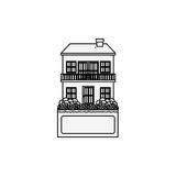 Silhouette house with two floors and balcony Royalty Free Stock Images