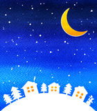 Silhouette of houses, night sky with stars and Royalty Free Stock Images