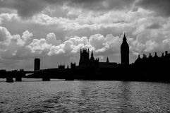 Silhouette of Houses of Parliamant and Big Ben Royalty Free Stock Images