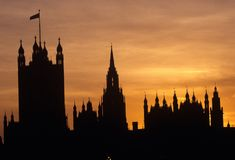 Silhouette of Houses of Parliament, London Royalty Free Stock Photography