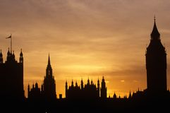 Silhouette of Houses of Parliament, London Royalty Free Stock Images