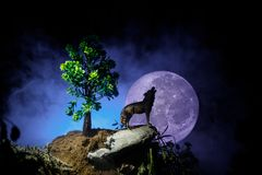 Silhouette of howling wolf against dark toned foggy background and full moon or Wolf in silhouette howling to the full moon. Hallo royalty free stock image