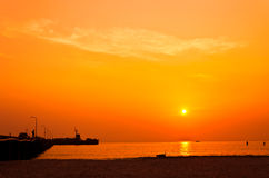Silhouette of Hua Hin Pier Stock Photography