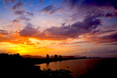 Silhouette of HuaHin city on sunset, Thailand Stock Image
