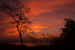 Silhouette at Huay Mae Kamin. Sunrise Color Image Outdoors silhouette Royalty Free Stock Image