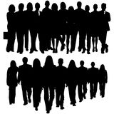 Silhouette of a huge crowd of business people royalty free illustration