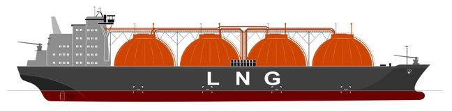 Silhouette of a huge ocean tanker for liquefied gas. Traced details. Side view. Royalty Free Stock Image