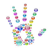 Silhouette human hand consisting of apps icons stock illustration