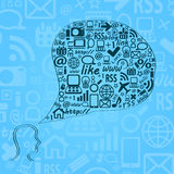Silhouette of Human Head with Media Icons Stock Images