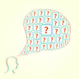Silhouette of Human Head with Question Icons Stock Photos