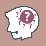 Silhouette of Human Head With Question Mark in His Head Royalty Free Stock Images
