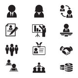 Silhouette human resource & staff management icons. Set illustration Vector Graphic design royalty free illustration