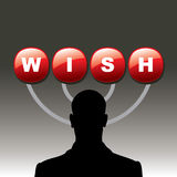 Silhouette human with wish button Royalty Free Stock Photos