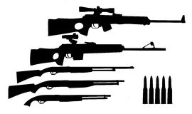 Silhouette hunt weapons Royalty Free Stock Image