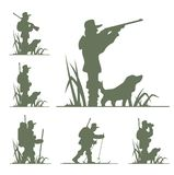 Silhouette of hunter. Illustration isolated on white background Royalty Free Stock Photos