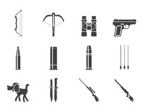 Silhouette Hunting and arms Icons Stock Photos
