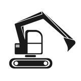 silhouette hydraulique de noir d'excavatrice de chenille Photos libres de droits